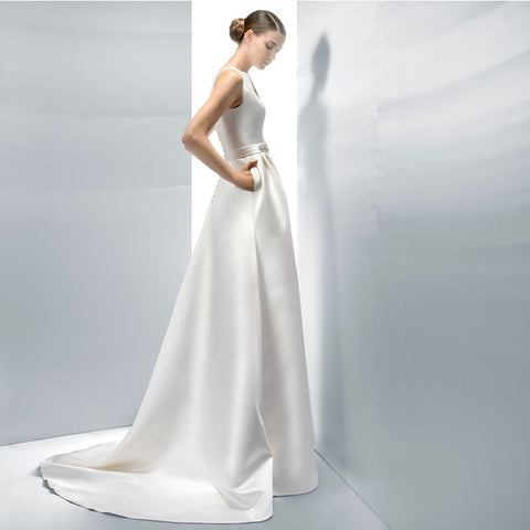 Bridal Luxury White Satin Long Evening Dress Sexy Backless Sleeveless Waist with Crystal Party Gown - BETTIKE.com