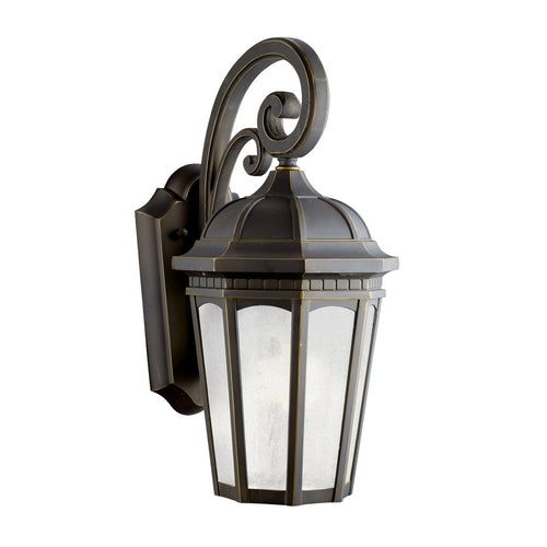 Kichler Lighting 11011RZ Courtyard 1 Light 18 inch Rubbed Bronze Fluorescent Outdoor Wall Lantern