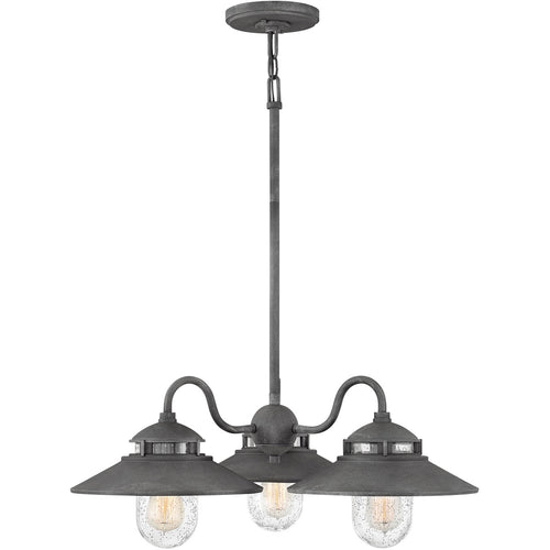 Hinkley Lighting 1113DZ Atwell 3 Light 24 inch Aged Zinc Outdoor Chandelier Open Air
