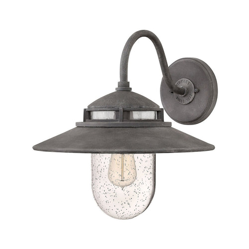 Hinkley Lighting Atwell 1 Light 15 inch Aged Zinc Outdoor Wall Mount Open Air