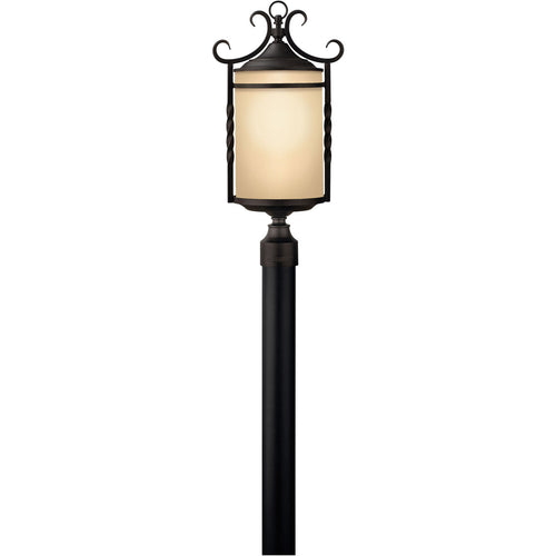 Hinkley Lighting Casa 3 Light 24 inch Olde Black Outdoor Post Mount in Light Etched Amber Post Sold Separately