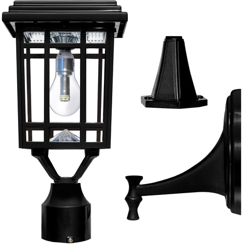 Gama Sonic GS-114B-FPW-BLK Prairie Bulb 14 inch Black Solar Light with 3 Fitter""