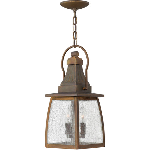 Hinkley Lighting Montauk 2 Light 7 inch Sienna Outdoor Hanging Light in Incandescent Clear Seedy Glass