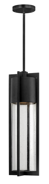 Hinkley Lighting 1322BK-GU24 Shelter 1 Light 6 inch Black Outdoor Hanging in GU24 Clear Seedy Glass
