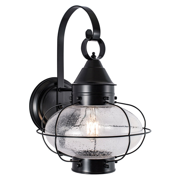 Norwell Lighting 1324-BL-SE Cottage Onion 1 Light 16 inch Black Outdoor Wall Large