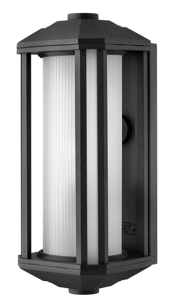 Hinkley Lighting 1390BK-GU24 Castelle 1 Light 15 inch Black Outdoor Wall in Ribbed Etched GU24 Ribbed Etched Glass