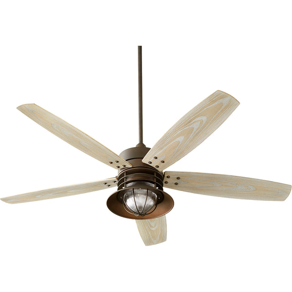 Quorum International Portico 60 inch Oiled Bronze with Weathered Oak Blades Outdoor Ceiling Fan