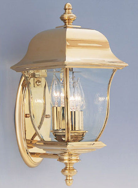 Designers Fountain 1542-PVD-PB Gladiator 3 Light 17 inch Polished Brass Outdoor Wall Lantern