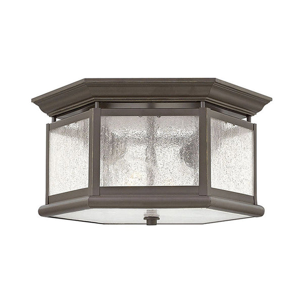 Hinkley Lighting Edgewater 2 Light 13 inch Oil Rubbed Bronze Outdoor Flush Mount Clear Seedy Panels Glass