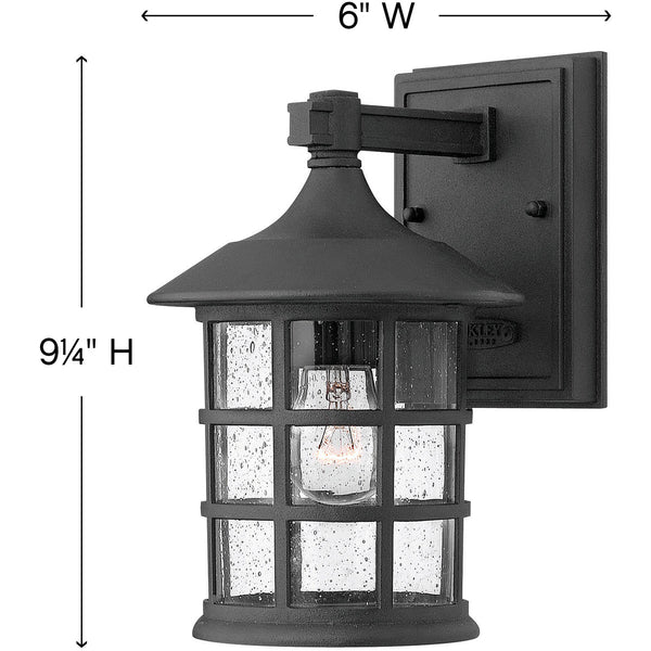 Hinkley Lighting 1800BK Freeport 1 Light 9 inch Black Outdoor Wall Mount in Incandescent Clear Seedy Glass