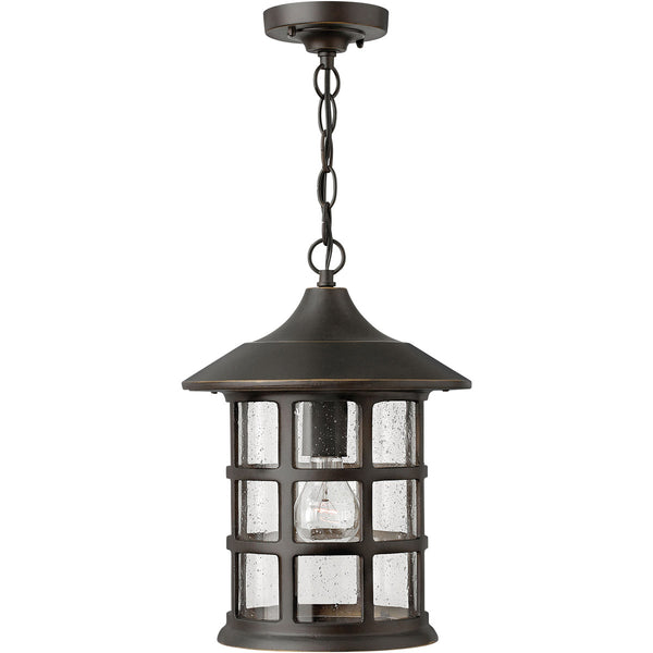 Hinkley Lighting 1802OZ-GU24 Freeport 1 Light 10 inch Oil Rubbed Bronze Outdoor Hanging in Clear Seedy GU24