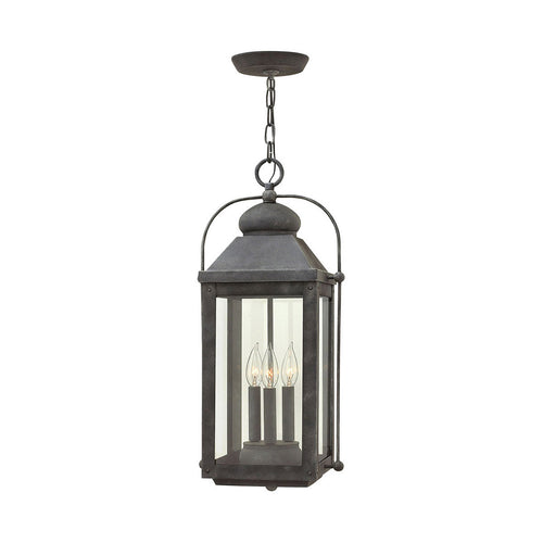 Hinkley Lighting Anchorage 3 Light 11 inch Aged Zinc Outdoor Hanging Lantern in Incandescent Heritage