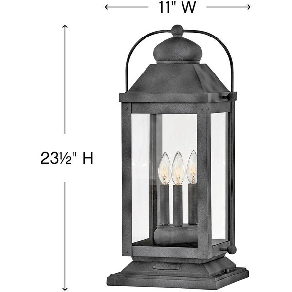 Hinkley Lighting Anchorage 3 Light 24 inch Aged Zinc Outdoor Pier Mount Heritage