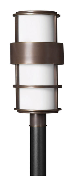 Hinkley Lighting 1901MT-GU24 Saturn 1 Light 22 inch Metro Bronze Post Lantern in Etched Opal GU24 Etched Opal Glass