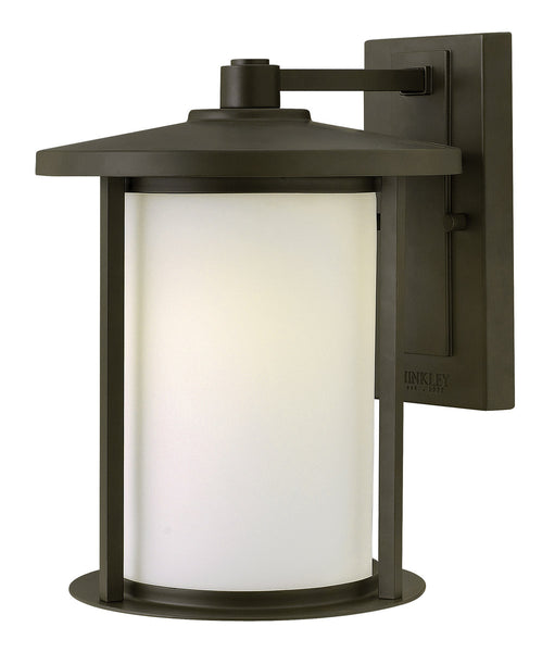 Hinkley Lighting 1914OZ-LED Hudson 1 Light 12 inch Oil Rubbed Bronze Outdoor Wall Lantern in LED Etched Opal Glass