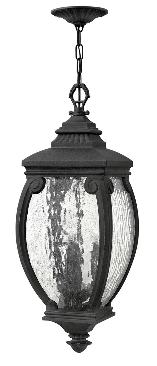 Hinkley Lighting 1942MB Forum 3 Light 10 inch Museum Black Outdoor Hanging Seedy Water Glass