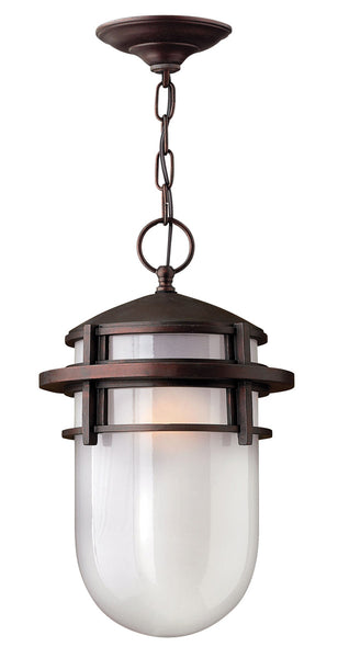 Hinkley Lighting 1952VZ-GU24 Reef 1 Light 9 inch Victorian Bronze Outdoor Hanging in Translucent Sandblasted GU24 Inside Etched Glass