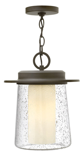 Hinkley R-2012OZ-LED Riley LED 11 inch Oil Rubbed Bronze Outdoor Hanging Light in Clear Seedy and Etched Opal Clear Seedy Glass 2012OZ-LED - Open Box