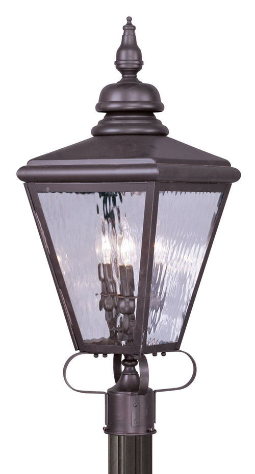 Livex 2034-07 Cambridge 3 Light 29 inch Bronze Outdoor Post Head