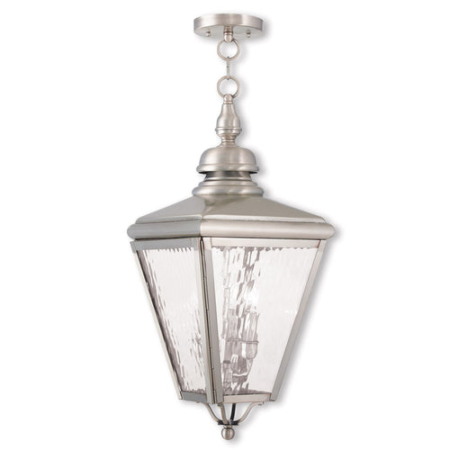 Livex 2035-91 Cambridge 3 Light 11 inch Brushed Nickel Outdoor Lantern