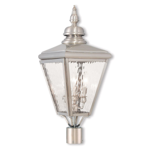 Livex 20433-91 Cambridge 3 Light 27 inch Brushed Nickel Post-Top Lantern