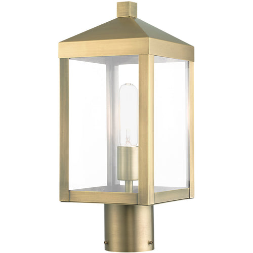 Livex Nyack 1 Light 15 inch Antique Brass Cluster Outdoor Post Top Lantern