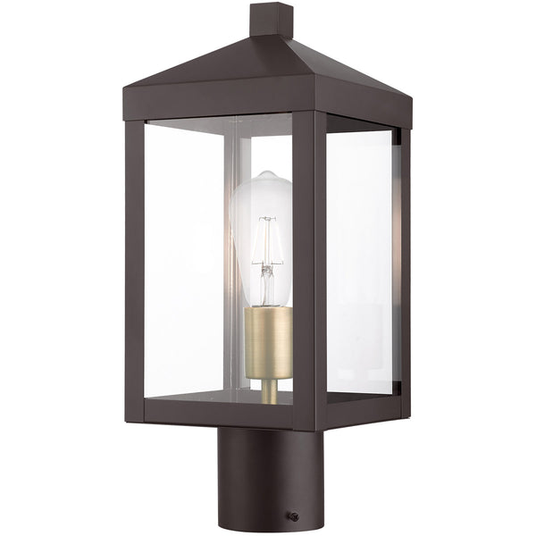 Livex Nyack 1 Light 15 inch Bronze with Antique Brass Cluser Outdoor Post Top Lantern
