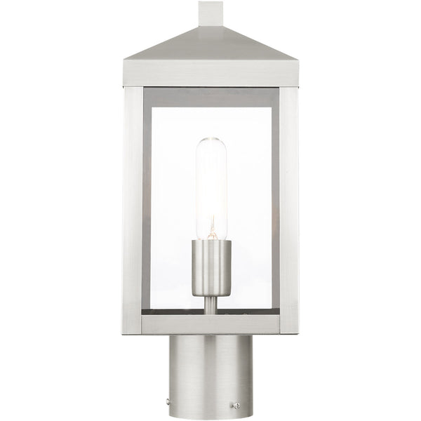 Livex Nyack 1 Light 15 inch Brushed Nickel Outdoor Post Top Lantern
