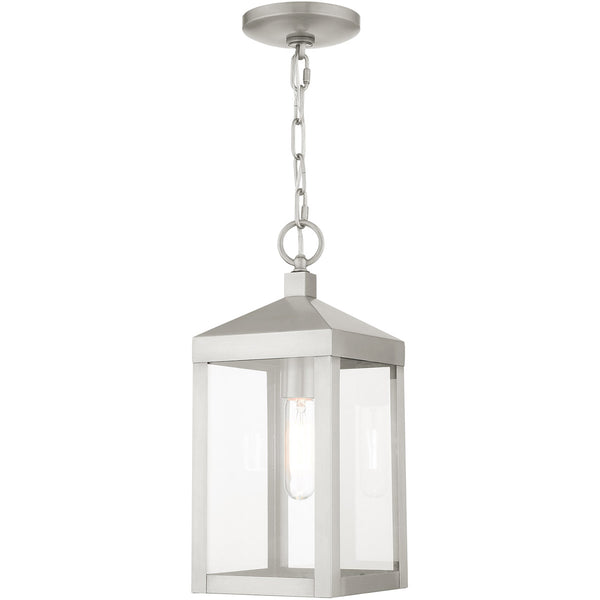 Livex Nyack 1 Light 6 inch Brushed Nickel Outdoor Pendant Lantern