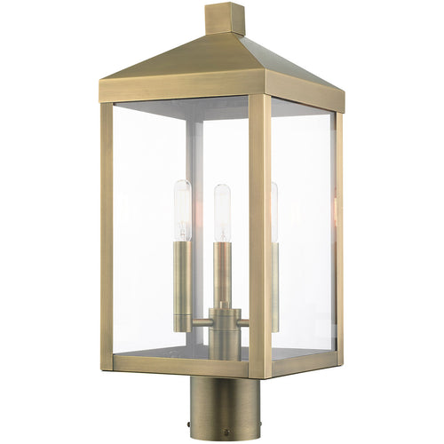 Livex Nyack 3 Light 20 inch Antique Brass Outdoor Post Top Lantern