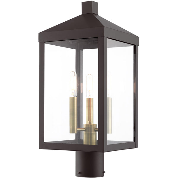 Livex Nyack 3 Light 20 inch Bronze with Antique Brass Cluser Outdoor Post Top Lantern