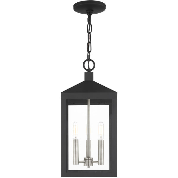 Livex Nyack 3 Light 8 inch Black with Brushed Nickel Cluster Outdoor Pendant Lantern
