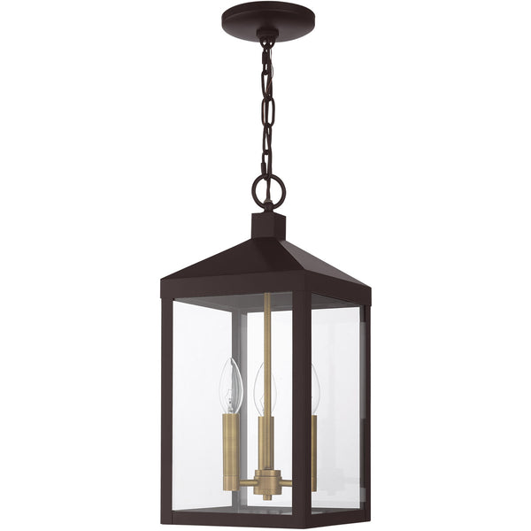 Livex Nyack 3 Light 8 inch Bronze with Antique Brass Cluser Outdoor Pendant Lantern