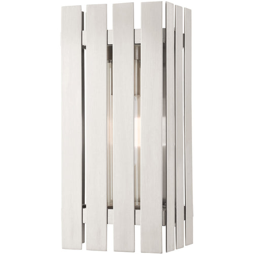 Livex Greenwich 1 Light 13 inch Brushed Nickel Outdoor Wall Lantern