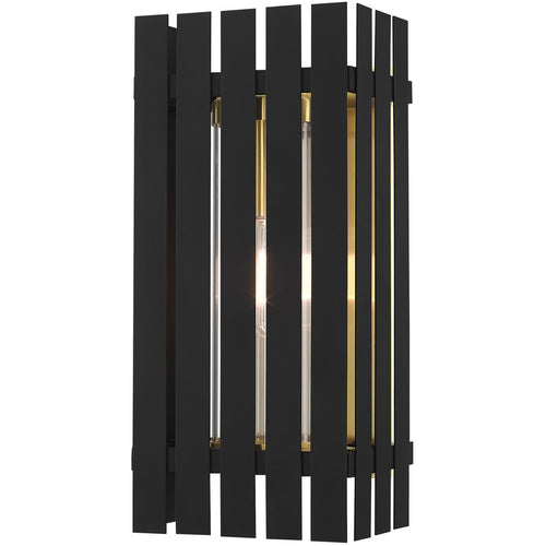 Livex Greenwich 1 Light 17 inch Black with Satin Brass Accents Outdoor Wall Lantern