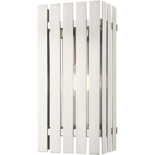 Livex Greenwich 1 Light 17 inch Brushed Nickel Outdoor Wall Lantern