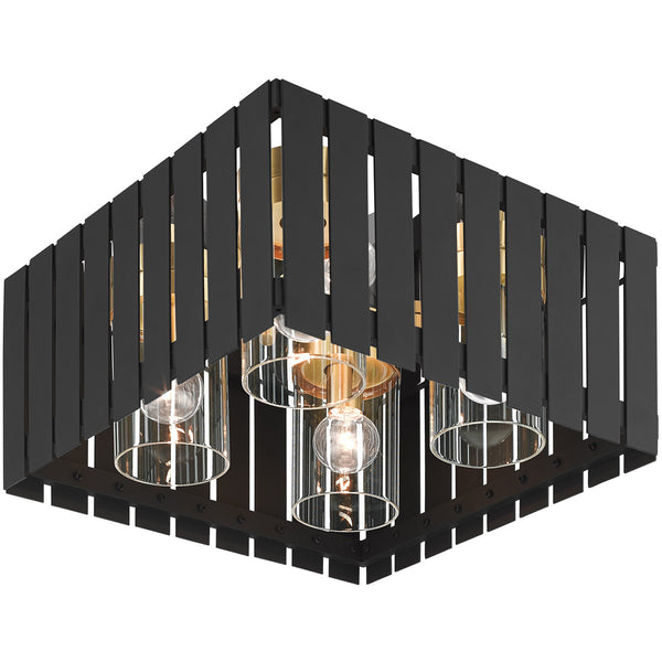 Livex Greenwich 4 Light 13 inch Black with Satin Brass Accents Outdoor Flush Mount