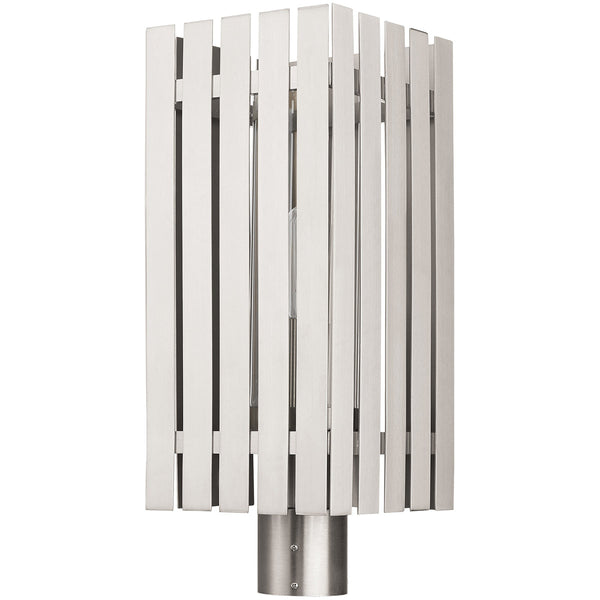 Livex Greenwich 1 Light 20 inch Brushed Nickel Outdoor Post Top Lantern