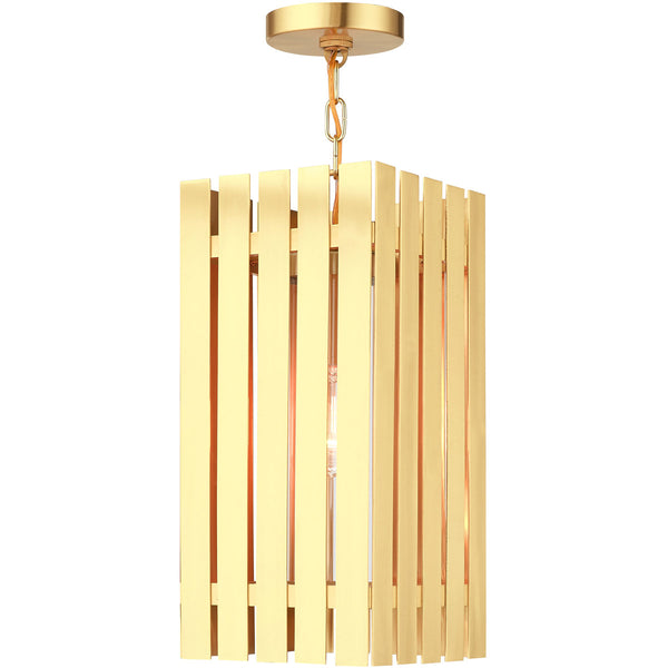Livex Greenwich 1 Light 8 inch Satin Brass Outdoor Pendant Lantern
