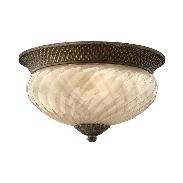 Hinkley Lighting Plantation 3 Light 16 inch Pearl Bronze Outdoor Flush Mount in Incandescent