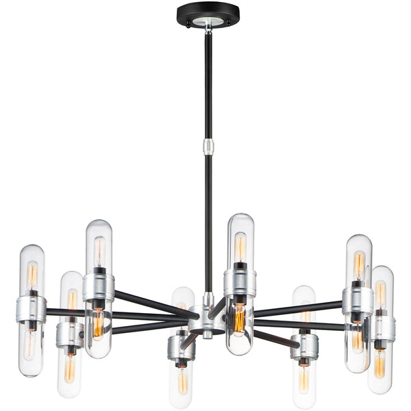 Maxim Lighting Dual 16 Light 34 inch Black and Brushed Aluminum Outdoor Chandelier