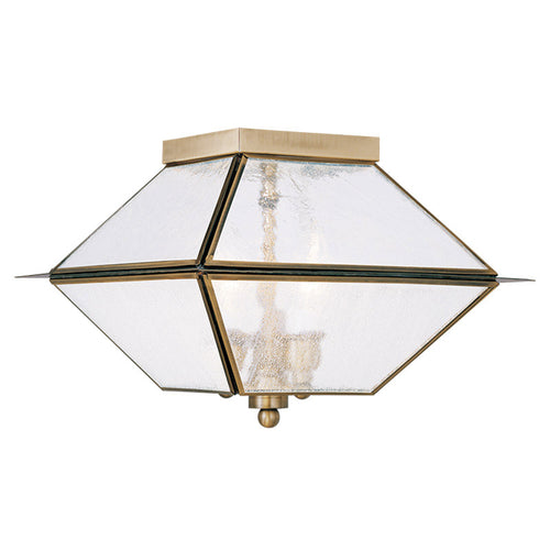 Livex 2176-01 Mansfield 3 Light 12 inch Antique Brass Outdoor/Indoor Ceiling Mount