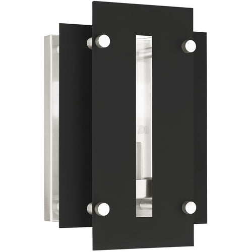 Livex Utrecht 1 Light 10 inch Black with Brushed Nickel Accents Outdoor Wall Lantern