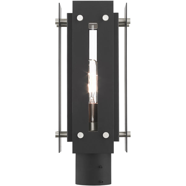 Livex Utrecht 1 Light 16 inch Black with Brushed Nickel Accents Outdoor Post Top Lantern