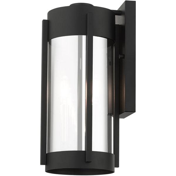 Livex Sheridan 2 Light 16 inch Black with Brushed Nickel Candles Outdoor Wall Lantern