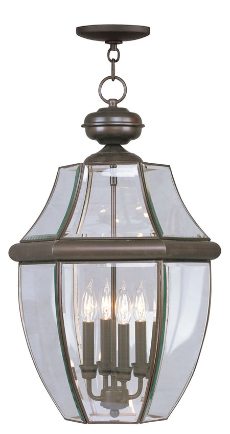 Livex Monterey 4 Light 16 inch Polished Brass Outdoor Hanging Lantern