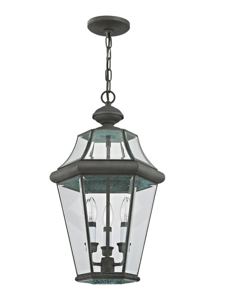 Livex 2365-61 Georgetown 3 Light 13 inch Charcoal Chain Lantern