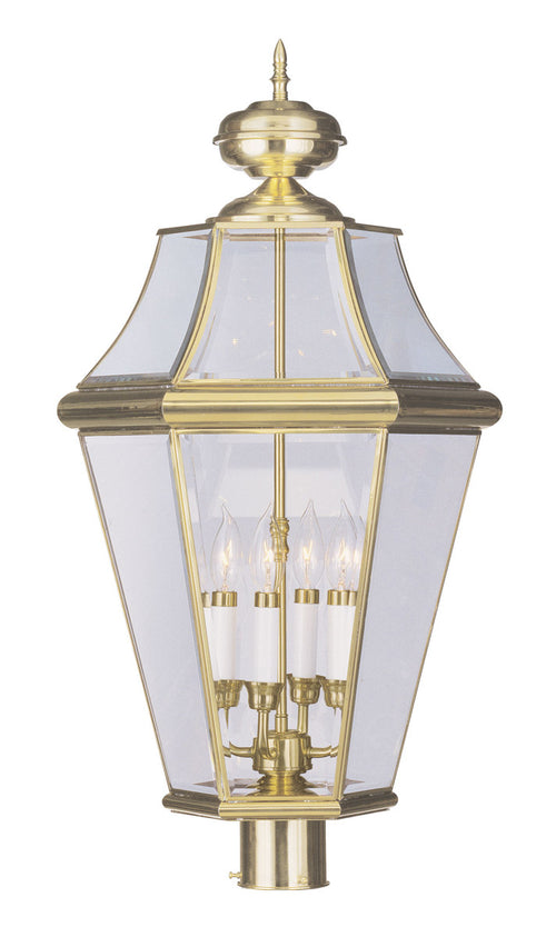 Livex Georgetown 4 Light 29 inch Polished Brass Outdoor Post Head