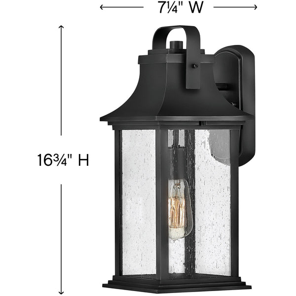 Hinkley Lighting Grant 1 Light 17 inch Textured Black Outdoor Wall Mount