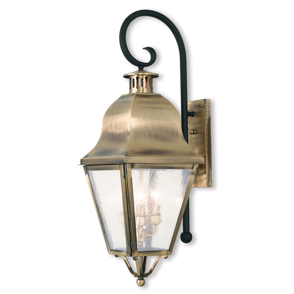 Livex Amwell 3 Light 31 inch Antique Brass Outdoor Wall Lantern